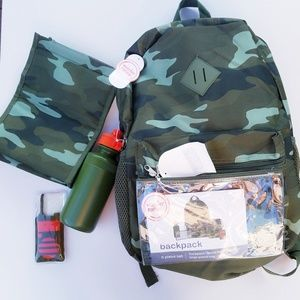 Other - New Backpack 5 pcs Set Camouflage Army Lunch Bag